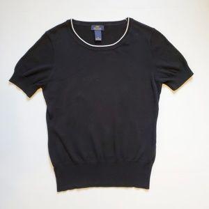 346 Brooks Brothers Black Short Sleeve Sweater